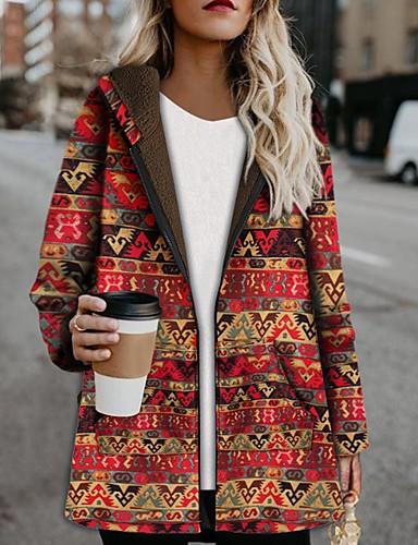 levne Dámské kabáty a trenčkoty-Dámské Denní Standardní Kabát, Geometrický Kapuce Dlouhý rukáv Polyester Žlutá