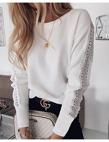 Mulheres Camiseta Sólido Branco