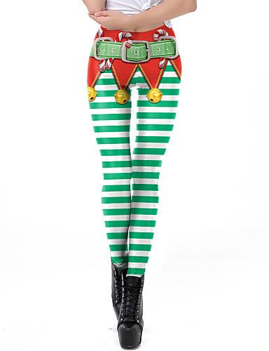 preiswerte Hosen & Röcke für Damen-Damen Alltagskleidung / Yoga Sportlich / Grundlegend Legging - Geometrisch, Druck Mittlere Taillenlinie Grün S M L