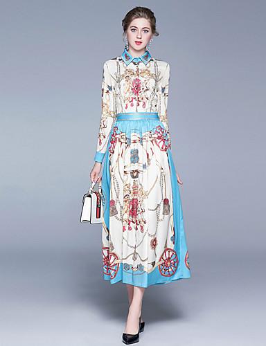 levne Maxi šaty-Dámské Sofistikované A Line Šaty - Geometrický, Tisk Maxi Modrá