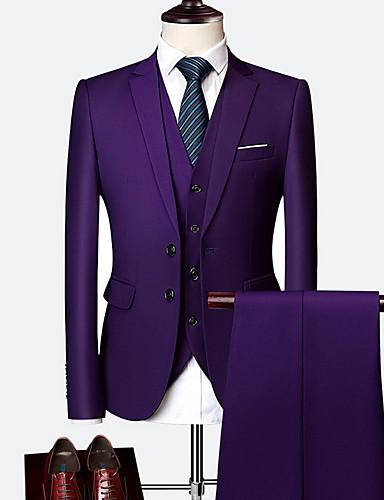 abordables Costume / Tailleur-Homme costumes Col de Chemise Polyester Noir / Vin / Bleu clair