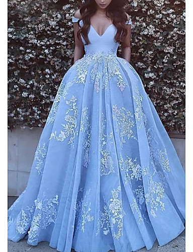 cheap Special Occasion Dresses-Ball Gown Floral Luxurious Quinceanera Formal Evening Dress Off Shoulder Short Sleeve Chapel Train Tulle with Pleats Appliques 2020