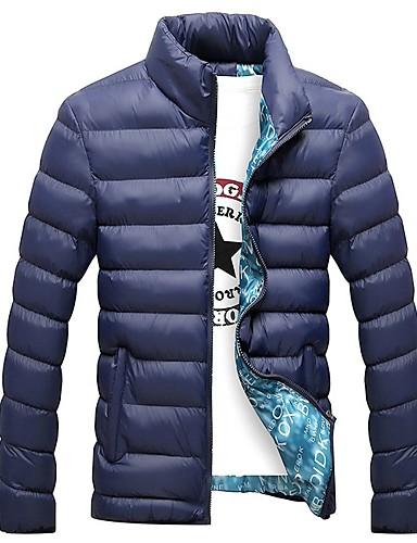 levne Pánské kabáty a parky-Pánské Jednobarevné S vycpávkou, Polyester Černá / Světle modrá / Vodní modrá US32 / UK32 / EU40 / US34 / UK34 / EU42 / US36 / UK36 / EU44