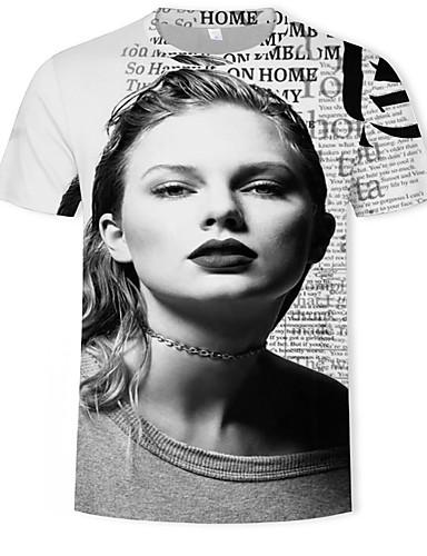 Homens Camiseta Moda de Rua / Punk & Góticas Estampado, Geométrica / Estampa Colorida Cinzento