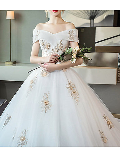 cheap Wedding Dresses-A-Line Off Shoulder Cathedral Train Lace Short Sleeve Wedding Dresses with Lace Insert / Appliques 2020