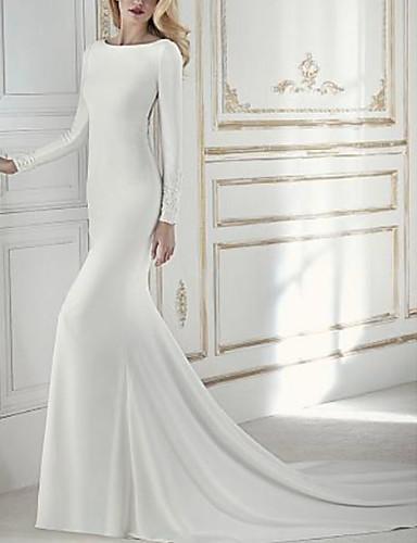 cheap Wedding Dresses-Sheath / Column Wedding Dresses Jewel Neck Court Train Chiffon Long Sleeve with Beading Appliques 2020