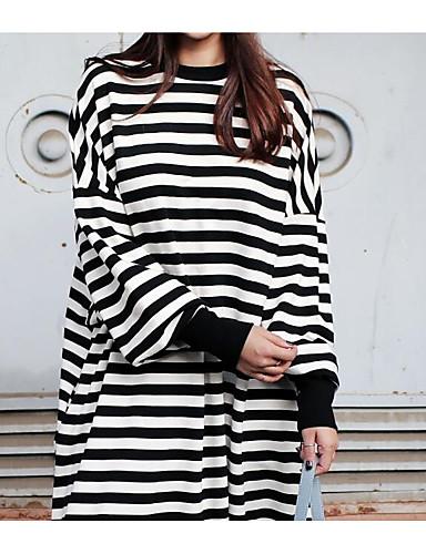 levne Šaty velkých velikostí-Dámské Základní A Line Tričko Šaty - Kostičky, Patchwork Midi Černá a Bílá Černá a šedá
