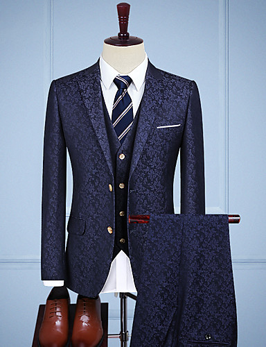 cheap Men's Custom Suits-Medium Blue Vintage Jacquard Custom Suit