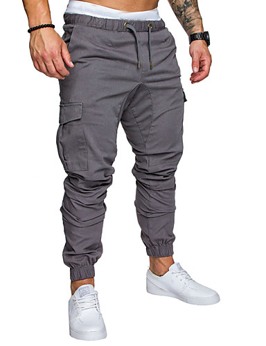 cheap Cargo Pants-Men's Sporty Streetwear Loose Cotton Jogger Tactical Cargo Pants Solid Colored Drawstring Black Army Green Light gray M L XL