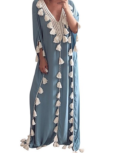 levne Maxi šaty-Dámské Elegantní Shift Šaty - Jednobarevné Maxi