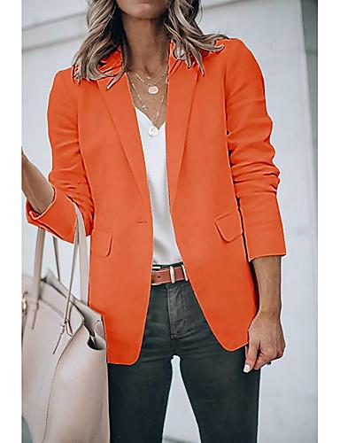 levne Dámské blejzry a bundy-Dámské Blejzr, Jednobarevné Klasické klopy Polyester Černá / Bílá / Oranžová
