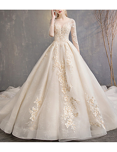 cheap Wedding Dresses-A-Line Jewel Neck Court Train Lace 3/4 Length Sleeve Glamorous Backless Wedding Dresses with Lace Insert / Appliques 2020