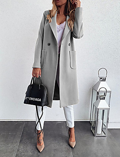 cheap Women's Coats & Trench Coats-Women's Notch lapel collar Fall & Winter Coat Long Solid Colored Daily Black Khaki Gray S M L