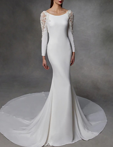 cheap Wedding Dresses-Mermaid / Trumpet Jewel Neck Court Train Stretch Satin / Lace Over Satin Long Sleeve Simple / Sexy Illusion Detail / Backless Wedding Dresses with Lace Insert 2020
