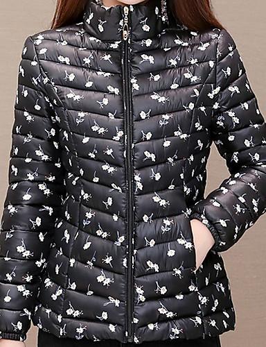 levne Dámské parky a paleta-Dámské Květinový Dlouhý kabát, Polyester Černá / Bílá / Fuchsiová XL / XXL / XXXL