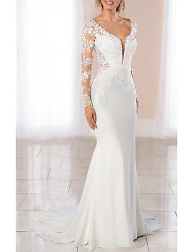cheap Wedding Dresses-Sheath / Column Wedding Dresses V Neck Court Train Chiffon Lace Long Sleeve Illusion Sleeve with Buttons Appliques 2020