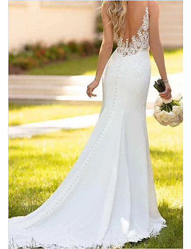 cheap Wedding Dresses-Mermaid / Trumpet V Neck Sweep / Brush Train Lace / Charmeuse Regular Straps Sexy Backless Wedding Dresses with Draping / Appliques 2020