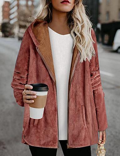 levne Dámské kabáty a trenčkoty-Dámské Denní Standardní Kabát, Jednobarevné Kapuce Dlouhý rukáv Polyester Světlá růžová / Vodní modrá