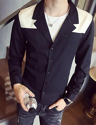 Homens Camisa Social Sólido Preto