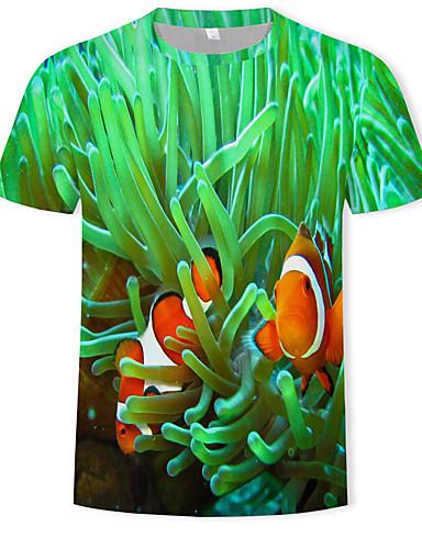 Homens Camiseta Estampado, 3D Verde