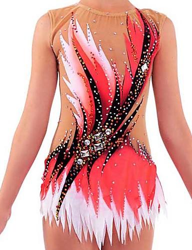 Collant Para Ginástica Rítmica Collants Para Ginástica Artística Mulheres Para Meninas Collant Vermelho Elastano Elasticidade Alta Confeccionada à Mão Adornado Brilhante Sem Manga Competição Dança