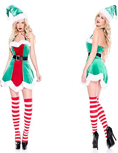 preiswerte Weihnachten Kostüme-FrauClaus Kleid Damen Erwachsene Kostüm-Party Weihnachten Weihnachten Samt Kleid / Gürtel / Hut