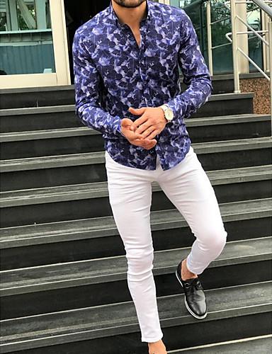 levne Pánské košile-Pánské - Geometrický Košile Vodní modrá