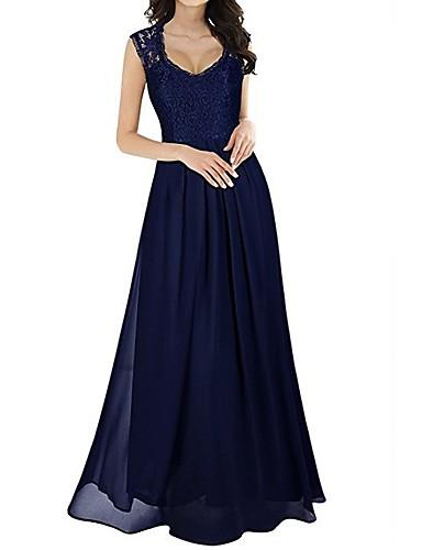 levne Maxi šaty-Dámské Elegantní A Line Šaty - Jednobarevné Maxi