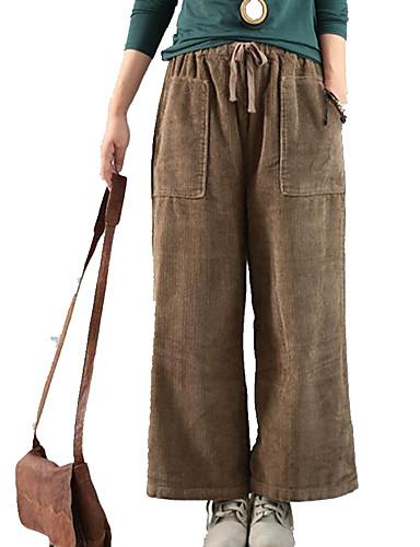 preiswerte Damen Hosen-Damen Grundlegend / Street Schick Breites Bein Hose - Solide Patchwork Braun Dunkelgray M L XL