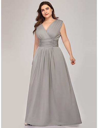 preiswerte Brautmutter Kleider-A-Linie V-Ausschnitt Boden-Länge Polyester / Elasthan Brautmutterkleid mit Drapiert / Horizontal gerüscht durch LAN TING Express