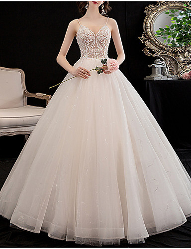 cheap Wedding Dresses-A-Line V Neck Floor Length Lace Spaghetti Strap Wedding Dresses with Lace Insert / Appliques 2020