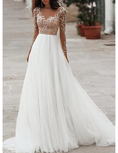 cheap Boho Wedding Dresses-A-Line V Neck Floor Length Tulle Long Sleeve Cheap / Romantic / Beach See-Through / Illusion Sleeve Wedding Dresses with Beading / Embroidery 2020