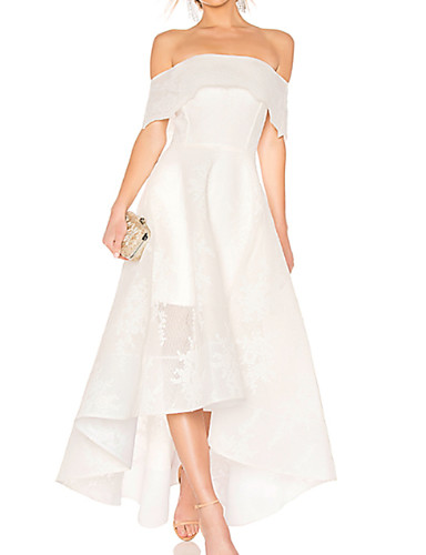 cheap Wedding Dresses-A-Line Off Shoulder Asymmetrical / Ankle Length Organza Short Sleeve Wedding Dresses with Embroidery 2020