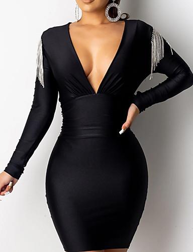 levne Maxi šaty-Dámské Šik ven Elegantní Bodycon Pouzdro Šaty - Jednobarevné, Třásně Patchwork Maxi