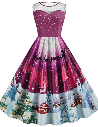 levne Šaty velkých velikostí-Dámské Vintage Šik ven Pouzdro Šaty - Květinový, Plisé Tisk Délka ke kolenům