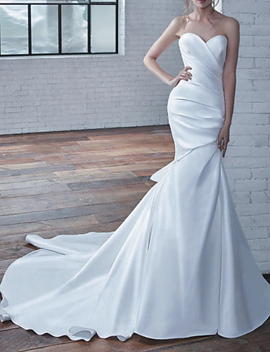 cheap Wedding Dresses-Mermaid / Trumpet Strapless Court Train Stretch Satin Strapless Wedding Dresses with Draping 2020