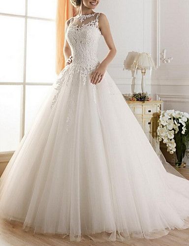 cheap Wedding Dresses-A-Line Jewel Neck Sweep / Brush Train Tulle Regular Straps Glamorous Illusion Detail / Backless Wedding Dresses with Lace Insert 2020