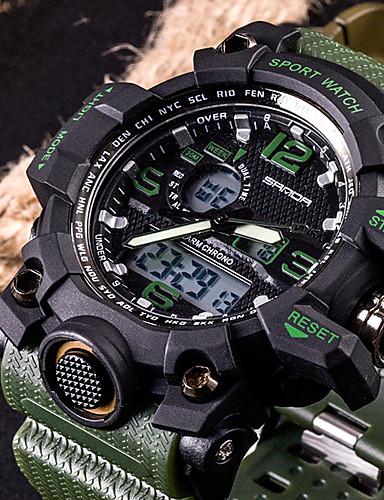 cheap Digital Watches-SANDA Men's Sport Watch Smartwatch Wrist Watch Japanese Digital Silicone Black / White / Brown 30 m Water Resistant / Waterproof LED Dual Time Zones Analog - Digital Fashion - Red Green Khaki Two