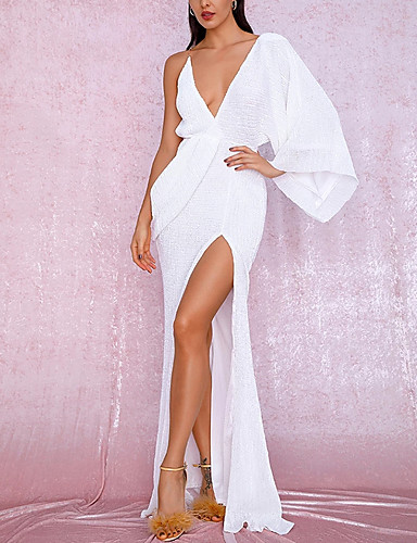 cheap Special Occasion Dresses-Sheath / Column Open Back Formal Evening Dress Plunging Neck Sleeveless Sweep / Brush Train Chiffon with Split Front 2020