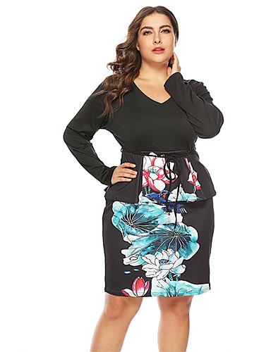 levne Šaty velkých velikostí-Dámské Základní Bodycon Šaty - Geometrický, Tisk Délka ke kolenům