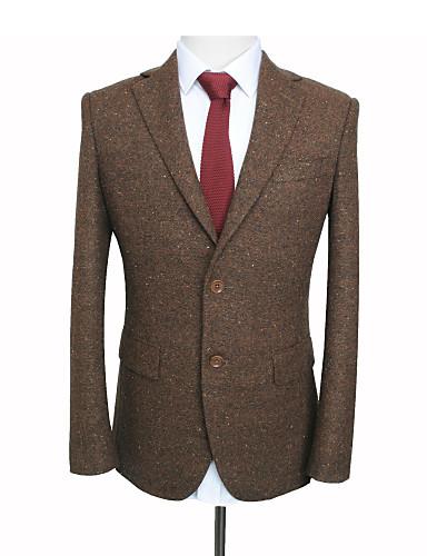 cheap Custom Suits-Brown woolen donegal tweed wool custom suit