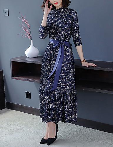 levne Maxi šaty-Dámské Swing Šaty - Puntíky Maxi