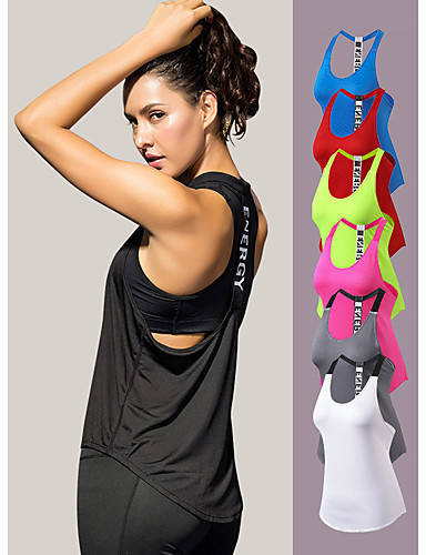 cheap Exercise, Fitness & Yoga-YUERLIAN Women's Running Tank Top T Back White Black Red Fuchsia Green Mesh Spandex Yoga Fitness Gym Workout Vest / Gilet Sport Activewear Lightweight 4 Way Stretch Breathable Quick Dry Comfortable
