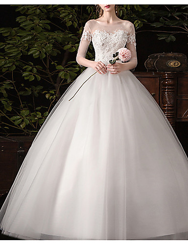 cheap Wedding Dresses-Ball Gown Jewel Neck Sweep / Brush Train Lace / Tulle Half Sleeve Glamorous See-Through / Illusion Sleeve Wedding Dresses with Lace Insert / Appliques 2020
