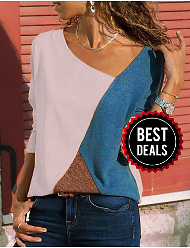 preiswerte Modische Damenbekleidung-Damen Einfarbig Übergrössen Bluse, V-Ausschnitt Gelb / Frühling / Herbst