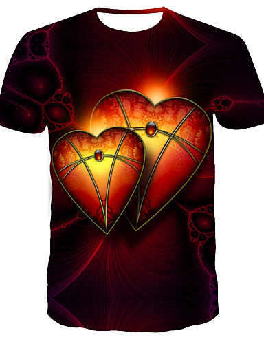 Homens Camiseta Estampado, 3D Vermelho