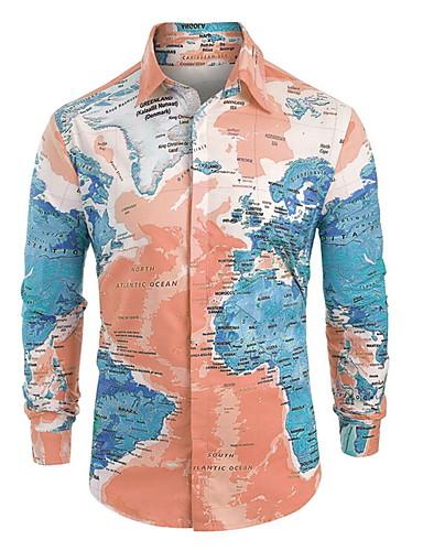 levne Pánské košile-Pánské - Geometrický / Grafika Košile Světle modrá