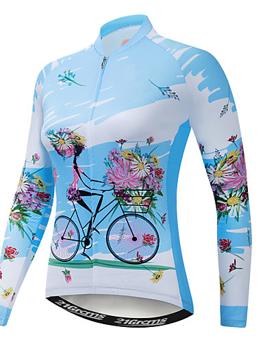 cheap Cycling Jerseys-21Grams Floral Botanical Women's Long Sleeve Cycling Jersey - Blue Bike Jersey Top UV Resistant Breathable Quick Dry Sports Winter Elastane Terylene Polyester Taffeta Mountain Bike MTB Road Bike