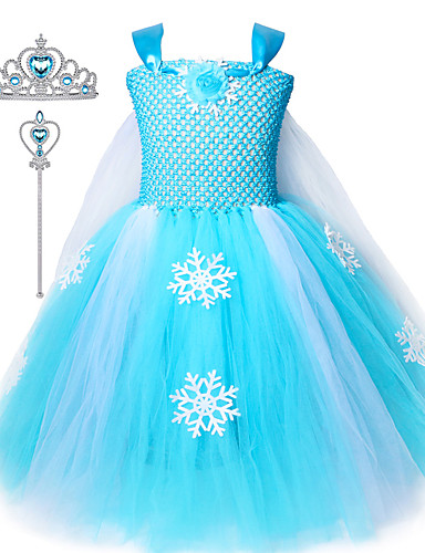 cheap Kids in home-Kids Girls Snow Elsa Frozen Dress Princess Tutu Dresses Cosplay Costume Crown Wand Set Ice Snow Skirt For Girls