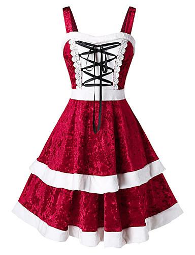 levne Šaty velkých velikostí-Dámské Šik ven Elegantní Swing Šaty - Barevné bloky, Volány Midi